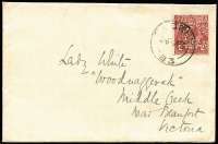 Lot 679 [1 of 2]:2d Red-Brown Die I (deep shade) perf 'OS/NSW' solo franking tied by Sydney cds to 1927 (4 Apr) cover with embossed 'GILBULLA' (Menangle NSW) to Lady White at Woodnaggerak, Middle Creek (near Beaufort Vic). Plus 1930 Perf 'OS' solo on local Melbourne cover. Both extremely rare frankings in fine condition. (2)