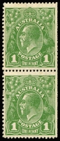 Lot 715:1d Green vertical pair with Inverted Watermark and PENAVY & Rusted top right corner, BW #81a(2)d,e, trimmed perfs from use as a coil, lower unit MUH, Cat $150+.