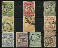 Lot 80 [2 of 2]:½d to 2/- Perf Small 'OS' simplified set, generally fine/very fine, Cat $1,335+. (11)