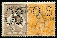 Lot 526:2/- Brown Perf Large 'OS' BW #35ba, plus 4d orange KGV perf 'OS' from same parcel and rejoined, Cat $500.