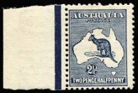 Lot 7:2½d Indigo left marginal single with Heavy 