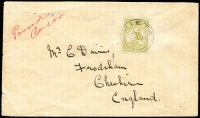 Lot 511 [1 of 2]:3d Olive Die I Perf Small 'OS' BW #12bc, on cover to England, tied 'KIETA' (New Guinea) cds, manuscript 'Passed/Censor' in red, and straight-line handstamp 'Passed by Censor', Warrington backstamp, Cat $1,000 on cover.