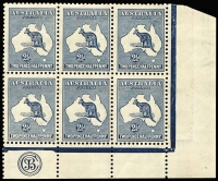 Lot 540:2½d Indigo Plate 1 JBC Monogram rare corner block of 6, 1R54 with constant Large blue blob in grass (deserves catalogue status), BW #10(1)z, very well centred, upper units MLH, lower units MUH, Cat $6,750++ (as a mounted corner strip of 3). Superb.