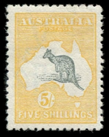 Lot 547:5/- Deep Grey & Chrome Wmk inverted, BW #43Ba, fresh MLH, Cat $2,000.