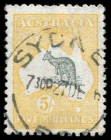 Lot 545:5/- Grey & Yellow BW #43, fine used, well centred with good perfs, Cat $575.