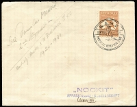 Lot 602:6d Chestnut on cover to Austria tied by 'BANZ/1930[penguin]-31/ANTARCTIC RESEARCH EXP.' handstamp in black. Rare overseas destination.