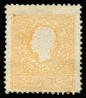 Lot 1326:1858-59 Franz Joseph 2kr orange Type II, SG #22b, one toned perf, MNG, Cat £6,000 as mint (Cat £700 used).