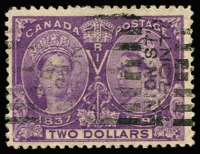 Lot 1359:1897 Jubilee Issue $2 deep violet, SG #137, parcel cancel, Cat £425.
