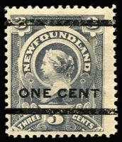 Lot 1354:1897 Surcharge type 38 'ONE CENT' on 3c grey-purple, SG #82, fine mint, Cat £600. (This type appears twice in each sheet).