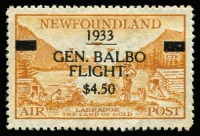 Lot 1356:1933 Balbo Air Surcharge $4.50 on 75c yellow-brown, SG #235, fine mint, Cat £275.