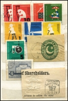 Lot 121 [2 of 5]:World: bits and pieces, incl some revenues, noted Scandanavia, USA Christmas Seals, 1954 Adelaide Children's Hospital Appeal (qty), various Red Cross labels. Plus French 1938-60 Parcel Post stamps collection and a group of airline luggage labels. (100s)