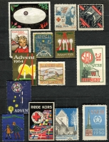 Lot 121 [4 of 5]:World: bits and pieces, incl some revenues, noted Scandanavia, USA Christmas Seals, 1954 Adelaide Children's Hospital Appeal (qty), various Red Cross labels. Plus French 1938-60 Parcel Post stamps collection and a group of airline luggage labels. (100s)