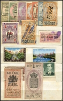 Lot 121 [1 of 5]:World: bits and pieces, incl some revenues, noted Scandanavia, USA Christmas Seals, 1954 Adelaide Children's Hospital Appeal (qty), various Red Cross labels. Plus French 1938-60 Parcel Post stamps collection and a group of airline luggage labels. (100s)