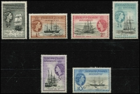Lot 1305 [2 of 3]:1954-62 QEII Ships set ½d to £1, SG #G26-40, fresh MUH, Cat £225. (15)