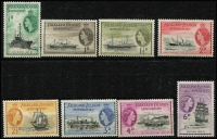 Lot 1305 [3 of 3]:1954-62 QEII Ships set ½d to £1, SG #G26-40, fresh MUH, Cat £225. (15)