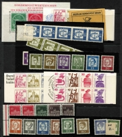 Lot 1414 [2 of 5]:Range range including West 1951 Church set on cover, Exhibition set MUH and on cover, 1952 Humanitarian Relief Fund FDC, later se-tenant strips, booklets; Berlin 1949 Goethe FDC, Relief Fund M/sheet M, 1951-53 Bell sets either mint or used, covers, later se-tenant multiples, booklets, etc. Cat £3,300. (150+)