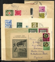 Lot 1414 [4 of 5]:Range range including West 1951 Church set on cover, Exhibition set MUH and on cover, 1952 Humanitarian Relief Fund FDC, later se-tenant strips, booklets; Berlin 1949 Goethe FDC, Relief Fund M/sheet M, 1951-53 Bell sets either mint or used, covers, later se-tenant multiples, booklets, etc. Cat £3,300. (150+)