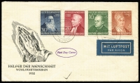 Lot 1414 [1 of 5]:Range range including West 1951 Church set on cover, Exhibition set MUH and on cover, 1952 Humanitarian Relief Fund FDC, later se-tenant strips, booklets; Berlin 1949 Goethe FDC, Relief Fund M/sheet M, 1951-53 Bell sets either mint or used, covers, later se-tenant multiples, booklets, etc. Cat £3,300. (150+)