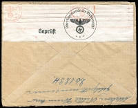 Lot 1416 [2 of 2]:1940 use of 20pf pair cancelled with light 'FELDPOST/b/31.12.40/' (from Feldpost 26123H - Caen, France), censored in Berlin, to Sandarne, Sweden. [Feldpost mail to overseas destinations is rare]