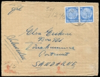 Lot 1416 [1 of 2]:1940 use of 20pf pair cancelled with light 'FELDPOST/b/31.12.40/' (from Feldpost 26123H - Caen, France), censored in Berlin, to Sandarne, Sweden. [Feldpost mail to overseas destinations is rare]