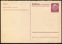 Lot 1327:1933-34 Hindenburg 15pf+15pf brownish lilac, perfed at base of addressee's half, Mi #P230.II, Cat  €150.