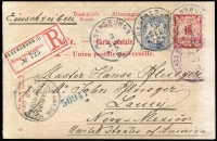 Lot 1412 [1 of 2]:1901 (Sep 3) use of privately illustrated 10pf carmine Postal Card (Mi #P51) uprated with 20pf blue, registered from Regensburg to Lamy, New Mexico. 'DEUTSCH-AMERIK. SEEPOST/HAMBURG/NEW YORK/5 9 01/a' transit on face. The illustrations are quite fine and appear to be advising a young man what will happen if he doesn't go down the right path.