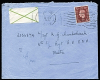 Lot 1444:1942 use of 1½d (underpaid by 1d but not taxed) with green cross label to Sgt in 4th S/L Regt Malta.
