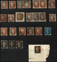 Lot 1430 [2 of 2]:1840-41 QV Line Engraved selection comprising 1d black shades (5, one on piece), 1d red black Maltese Cross cancels (5, includes numbers 2, 5, and 6), 1844 various numeral types singles (7, one in blue), pairs (2) and strip of 3, 2d blue, variable margins, (25). An attractive group. (25)