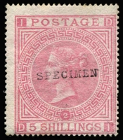 Lot 1608:1867-83 Wmk Maltese Cross 5/- pale rose Pl 2 with Type 9 'SPECIMEN' seriffed overprint SG #127s, MNG, Cat £1,750 (Cat £18,000 as an unoverprinted stamp).