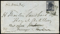Lot 9277 [1 of 2]:1882 (Jun 2) inwards cover with GB 5d cancelled Charing Cross, to Mhow, India and redirected to Srinagar, fine SEA/POST OFFICE/R/8JUN:' (Thibet?) & 'KASHMIR/JUN:30' backstamps.