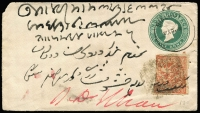 Lot 9279 [1 of 2]:1887 (Mar 9) use of ½a red (SG #126) on India ½a blue-green Envelope from Sialkot to Pinda-Dadan-Khan (good backstamp), also type 29 native cancel on back.