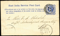 Lot 1303:1891 (May 14) inward use of East India Offical ¼a Postal Card from the Meteorological Report, Calcutta, to Revd Redslob Leh, requesting the half-yearly reports. Revd Redslob died of typhoid a few days after receiving this request.