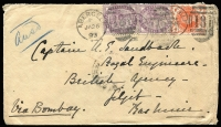 Lot 9281 [1 of 2]:1893 (Jan 26) inwards cover with GB 1d lilac x2 & ½d vermilion from Abergele, Wales to Gilgit, Kashmir, good SEA POST OFFICE/B/FE7/93/*' (Peninsular) & 'SRINAGAR/../FE21/93' backstamps.