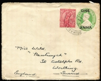 Lot 1694 [2 of 2]:1898-1924 covers to England from Srinagar [1] 1898 with India ½a blue-green & 1a brown-purple pair; [2] 1924 1a KGV on 1a on ½a KGV Envelope (2)