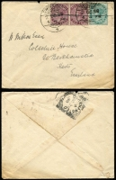 Lot 1694 [1 of 2]:1898-1924 covers to England from Srinagar [1] 1898 with India ½a blue-green & 1a brown-purple pair; [2] 1924 1a KGV on 1a on ½a KGV Envelope (2)