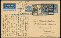 Lot 1695 [5 of 5]:1907-37 [1] 1907 stampless cover from Srinagar to Rawalpindi, fine half-circle 'SRINAGAR/DUE/ONE ANNA; and poor green 'Unpaid' cancel on face; [2] 1914 ½a green KEVII on ½a KGV envelope from Khanyar to England; [3] 1914 1a Postal Card from Srinagar to Adelaide, SA; [4] 1931 use of ½a New Delhi from Srinagar to Chakal Cantonment; [5] 1937 4a blue Airmail Postal Card from Srinagar to England. (5)