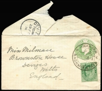 Lot 1695 [1 of 5]:1907-37 [1] 1907 stampless cover from Srinagar to Rawalpindi, fine half-circle 'SRINAGAR/DUE/ONE ANNA; and poor green 'Unpaid' cancel on face; [2] 1914 ½a green KEVII on ½a KGV envelope from Khanyar to England; [3] 1914 1a Postal Card from Srinagar to Adelaide, SA; [4] 1931 use of ½a New Delhi from Srinagar to Chakal Cantonment; [5] 1937 4a blue Airmail Postal Card from Srinagar to England. (5)