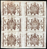 Lot 9274 [1 of 4]:1884 Monocolour Arms 4a ultramarine block of 4, 2r blackish green block of 4 & 5r brown block of 6, SG #T3,6,7, plus 1r pink block of 6 forgery, Cat £142+. MNG as issued. (20)
