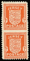 Lot 1457:1941-43 Arms 1d scarlet vertical pair, variety Imperforate horizontally between, SG #2a, very fresh mint, Cat £900. Superb