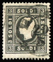 Lot 1483:1858 New Currency Type I 3s black, SG #17A, 1mm cut at base, Cat £300.