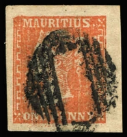 Lot 1522:1859 Dardenne 1d dull vermilion on imperforate white laid paper, large margins, SG #42, fine used, Cat £1,400.