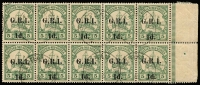 Lot 1253:1914-15 6mm Overprint Spacing on German New Guinea 1d on 5pf green block of 10 (5x2) from setting 9, variety '1' with straight top serif on vertical pair in 3rd row, last units showing Stop after 'R' almost OMITTED in 'GRI'. cancelled by Stephansort cds's, SG #2,2c, Cat £1,980++.