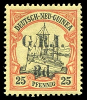 Lot 1258:1914-15 on German New Guinea Ovpt 5mm Setting 3d on 25pf black & red/yellow, SG #22, very fresh MVLH, Retail $650.