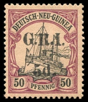Lot 1259:1914-15 on German New Guinea Ovpt 5mm Setting 5d on 50pf black & purple/buff, SG #25, fresh MLH, Retail $425.