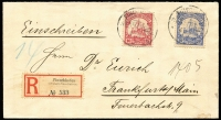 Lot 1250 [1 of 2]:1907 (Feb 4) registered cover to Germany franked Yachts 10pf and 20pf, each tied by Finschhafen datestamps, registration label at lower left, Bremen arrival backstamp.
