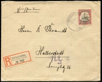 Lot 1251 [1 of 2]:1908 (May 1) registered cover to Germany, franked 40pf Yacht tied by Herbertshohe datestamp, registration label at lower left, Halberstadt arrival backstamp. Bothe guarantee handstamp.