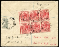 Lot 1294 [2 of 2]:1917 (Oct 17) unusual registered cover to London franked with Australia Kangaroo 2d and Papua 1/- Lakatoi both bisected, together with Solomon Islands ½d pair and 1d block of 6 tied by Kieta datestamps