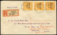 Lot 1289 [1 of 3]:1918 (Jan 4) 4d orange 'abc' strip of 3, top unit with variety Line through FOUR PENCE, SG #70/70c on registered cover Rabaul to India, backstamps of Sydney and Calcutta. A great rarity on cover with a normal Australia variety realizing $3,000+ at Sydney auction several years ago. RPSV certificate (2001).
