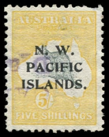 Lot 1084:1915-16 Kangaroos 1st Wmk 5/- grey & yellow (a), SG #83, fiscally used at Rabaul, pulled perf, Cat £3,750. A rare stamp. A better example realised over $3,800 in auction 72.