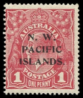 Lot 1086 [3 of 3]:1918-23 KGV Single Wmk 1d red, mint catalogued varieties selection, Saddle on emu, Line under RVT & Die II. (3)